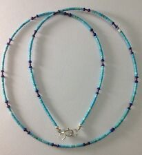 Necklace Silver Handmade Ethnic Tribal Afghan Tiny Turquoise, Lapis Lazuli Beads