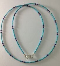 Afghan Tiny Turquoise, Lapis Lazuli Beads Necklace Silver Handmade Ethnic Tribal