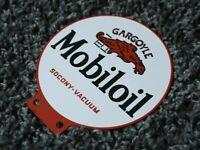 VINTAGE MOBILOIL PORCELAIN SIGN GAS METAL STATION PUMP PLATE OIL GASOLINE MOBIL