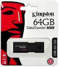 Kingston 64GB DataTraveler 100 G3 64G USB 3.0 Flash Pen Drive DT100G3/64GB Retai