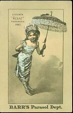 "1883 Lyon's ""Eclat"" Parasols Trade Card & Price List 1883 Barr's Dept. Sotre"