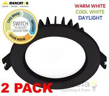 2 x 10w LED DOWNLIGHT CCT CHANGING WARM/COOL/DAYLIGHT MERCATOR OPTICA TRIO BLACK