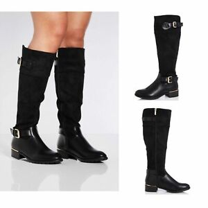 Womens Ladies Knee High Boots Flat Block Heel Riding Mid Calf Winter Shoes Size