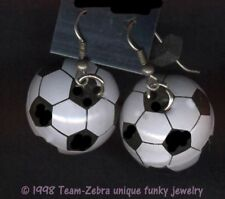 Huge Funky SOCCER BALL EARRINGS Team Mom Sports Player Referee Costume Jewelry