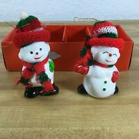 """Snowman Ceramic Christmas Decoration Ornament Red Hats Scarfs 3"""" in Box Vintage"""