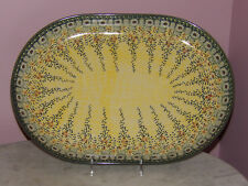 Polish Pottery Large Oval Platter! UNIKAT Signature Exclusive Miss Daisy!