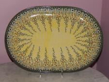 Polish Pottery UNIKAT Large Oval Platter! Miss Daisy Pattern!