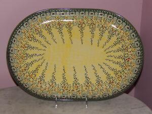 Polish Pottery Large Oval Platter! UNIKAT Signature Exclusive Miss Daisy!