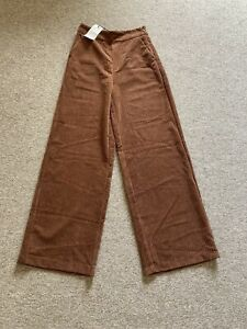 Stradivarius brown cord trousers with pockets UK 8