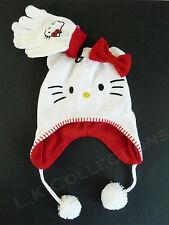 HELLO KITTY Laplander Winter Hat & Gloves Set White Red Lining NWT SANRIO OSFM