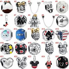 European Minnie Charms Cartoon CZ Bead Pendant Fit 925 Sterling Silver Bracelets