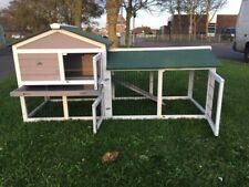 LARGE RABBIT HUTCH GUINEA PIG HUTCHES RUN RUNS LARGE 2 TIER DOUBLE DECKER GREY