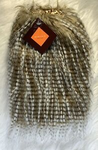 """Faux Fur Evelyn K. New York Boot Covers Leg Warmers Shoe Covers 11"""" Brown/White"""