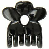 Caravan Open Summer Flower With A Patent Covered Spring Black Hair Claw