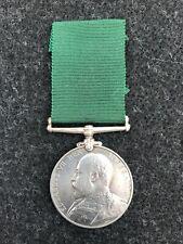 VOLUNTEER LONG SERVICE MEDAL ERVII 1908 AWARDED TO 8736 SJT A E HALL M/CR REGT