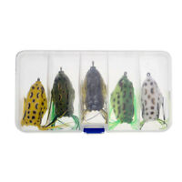 Soft Rubber Frog Lure Fishing Lures Bait Crankbait Hooks with Storage Box