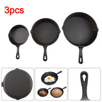 3Pcs Non-Stick Frying Griddle Pan Set CAST IRON Barbecue Grill Fry BBQ Skillet