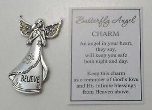 QQx Believe BUTTERFLY wing ANGEL pocket figurine Charm token reminder God's love