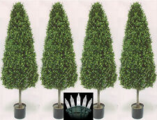 """4 Outdoor 56"""" Artificial Boxwood Cone Topiary Trees Uv Rated 6 5 7 Lights in Box"""