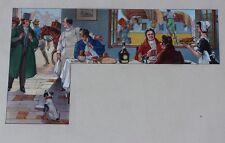 Scène de Taverne Aquarelle originale 1920 Atelier PICHON Projet MENU BENEDICTINE