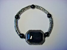Stretch Band - Designed For Men Or Women Bracelet - Black Onyx - Silver Tone -