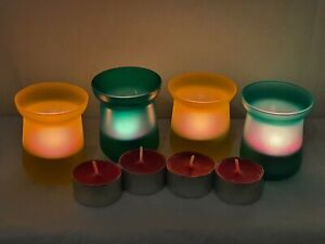 2X YELLOW 2X GREEN COLOURED TEA LIGHT GLASS CANDLE HOLDERS WITH SCENTED CANDLES