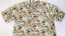 Tommy Bahama Mens Hawaiian Button Front Shirt XL 100% Silk Floral Palm Trees