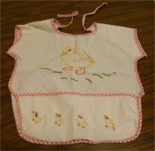 Vintage Toddler Bib(White w Yellow Ducks) Bottom Pocket