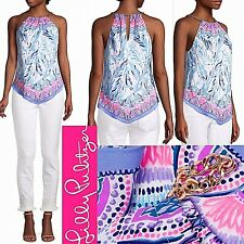 NWT Lilly Pulitzer Cabana Halter Top Resort White Flock Together Engineered XL