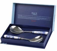 Spode Blue Italian salad server spoon & fork set