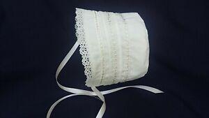 Reborn Girl Ivory/Cream Christening/Baptism/Wedding Bonnet /Sun Hat Size 0-24 M.