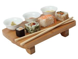 Dexam Sushi Japanese Serving Set Bamboo Chopsticks White Porcelain Dip Dishes