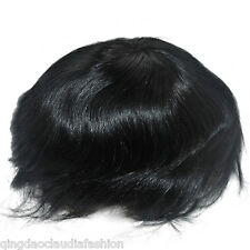 stock jet black wig for men lace front toupee mens natural human hair piece