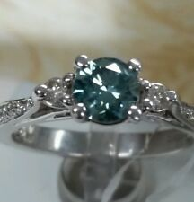 18k gold blue diamond ring fine jewelry . great deal. 0.68ct cnt. 0.31ct white d