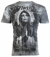 AFFLICTION Mens T-Shirt MOURNING Tattoo ANGEL WINGS Motorcycle Biker MMA $66
