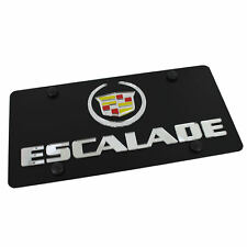 Cadillac Logo + Escalade Name On Carbon Stainless Steel License Plate