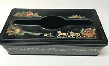 VINTAGE BLACK METAL HANDPAINTED TISSUE BOX COVER HORSE & CARRIAGE FOR WALL/TABLE
