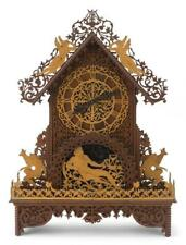 Intricate Scroll Saw Wooden Mantel Clock With animals and Greek myth. Lot 1286