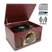 USB Vinyl Turntable Record Player Speakers CD Radio MP3 Convert Vintage Cabinet