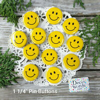 "12 SMILEY FACE 1.25"" PIN BACK BUTTONS New USA Made PARTY FAVORS Facemask PIns"