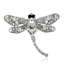 Vintage Style Big Rhinestone Crystal CLEAR Dragonfly Brooch Pin Accessories Gift