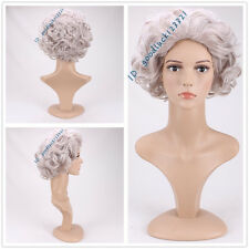 DELUXE GREY CURLY QUEEN ELIZABETH ROYAL OLD LADY GRANNY WIG + A WIG CAP