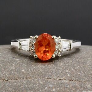 Natural Fire Opal & White Topaz Sterling Silver Ring Size R(UK) 8.75(US) Ref:764