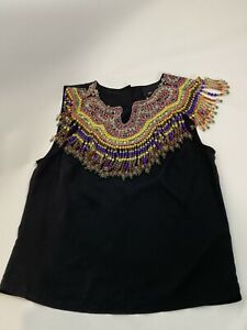 Asos African Sytle Beaded Blouse Crop Boho Top Blouse Button Up Size 6