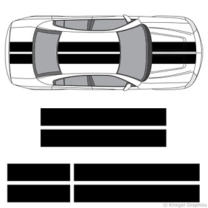 """10"""" Solid Racing Stripes 3M Vinyl Decal Kit 10in 10 inch for Dodge Charger"""