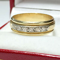 14K Yellow Gold 0.25 Ct Natural Diamond Mens Engagement Bands Size S T Q V R Z U