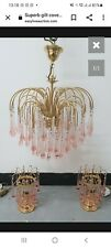 More details for vintage waterfall chandelier with murano glass droplets