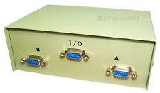 SVGA / VGA Manual Switch Metal Case 15 Pin 1 into 2  Splitter Box DB15 D-Sub