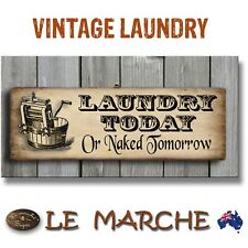 """👖 LAUNDRY Vintage """"Naked Tomorrow"""" Wooden Rustic Plaque / Sign (FREE POST) 👖"""