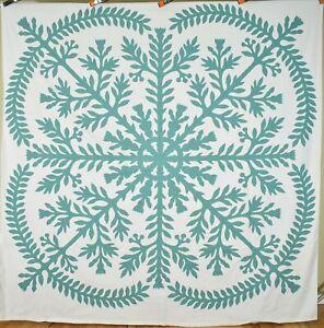 MAGNIFICENT Vintage 30's Hawaiian Applique Antique Quilt Top Summer Spread!